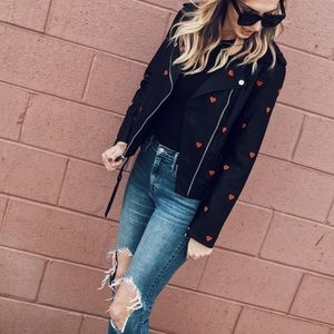 BCBGeneration Heart Embroidered Leather Jacket